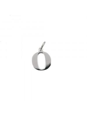 """Ciondolo a forma di lettera """"O"""", 9x10 mm., in Argento Lucido 925"""