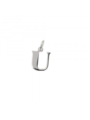 """Ciondolo a forma di lettera """"U"""", 8x10 mm., in Argento Lucido 925"""