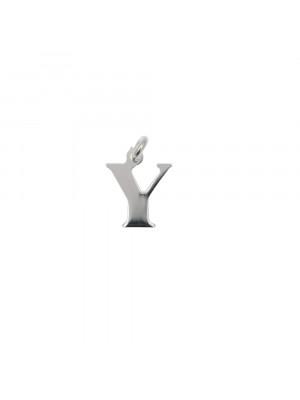 """Ciondolo a forma di lettera """"Y"""", 8x10 mm., in Argento Lucido 925"""