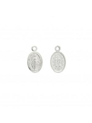 Ciondolo a forma di medaglia con madonnina, 8x13 mm., in Argento Lucido 925
