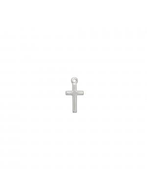 Ciondolo a forma di croce liscia, 7x13 mm., in Argento Lucido 925