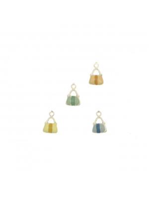 Ciondolo smaltato a forma di borsina con striscia centrale 8,5x7,5 mm, Argento lucido 925