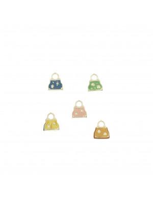 Ciondolo smaltato a forma di borsetta con stelline 12x8,5 mm, Argento lucido 925