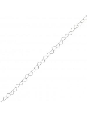 Catena composta da cuori sottili, 3,2x4,4 mm. in Argento 925