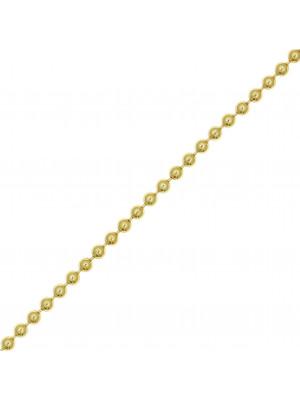 Catena a palline, spessore 1,5 mm., in Argento Dorato 925