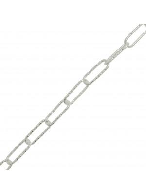 Catena Rettangolare, diamantata, 13x5mm. ARGENTO925