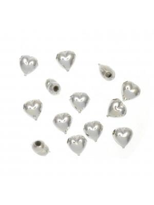 Distanziatore a forma di cuore liscio, 7x7 mm., in Argento Lucido 925