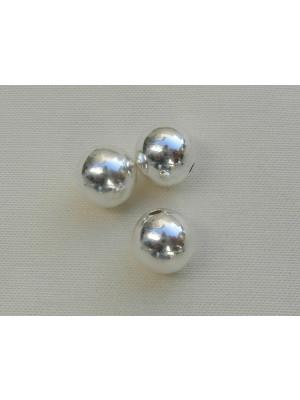 Distanziatore liscio a palla 8 mm. foro piccolo Argento 925