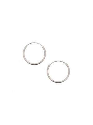Cerchio per orecchino liscio, con chiusura ad incastro, 14 mm., in Argento925