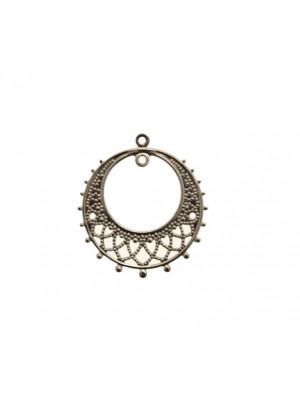 Cerchio per orecchino, in filigrana sottile, largo 25 mm., lungo 28 mm., con due anelli sopra