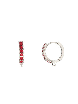 Cerchio con strass incastonati, 17x19 mm., base colore Argento Rodio, colore strass Rosso