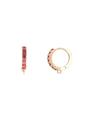 Cerchio con strass incastonati, 17x19 mm., base colore Oro Rosa, colore strass Rosso