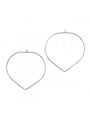 Base per orecchino a forma di cerchio chiuso, con punta in basso, 46x48 mm.