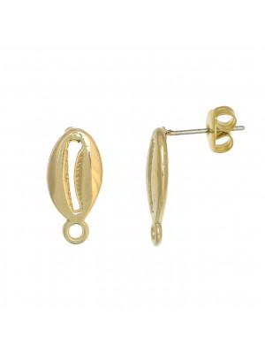 Perno a forma di conchiglia ciprea, 17x8mm., con un anellino tondo in basso