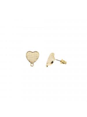 Perno a forma di cuore con rattan naturale, 14x16 mm., base oro lucido