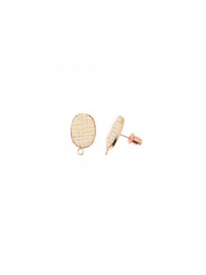 Perno ovale con rattan naturale, 11x18 mm., base oro rosa