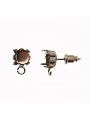 Perno tondo con castone porta strass (gemma tonda conica SS39), largo 8 mm., lungo 12 mm.