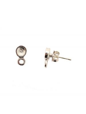 Perno tondo porta strass (SS20-SS30) da incollo, largo 6 mm., lungo 11 mm., con un anellino chiuso sotto