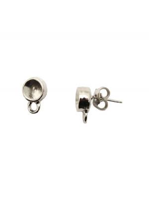 Perno tondo porta strass (SS29) da incollo, largo 8 mm., lungo 12 mm., con un anellino chiuso sotto