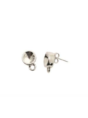 Perno tondo porta strass (SS39) da incollo, 10x13 mm., con un anellino chiuso sotto, CONF.2 PZ