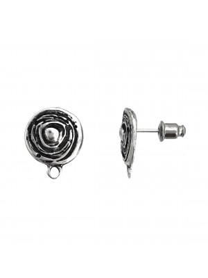 Perno tondo, lavorato a spirale, con un anellino tondo chiuso in basso, 14x17 mm. CONF.2 PZ