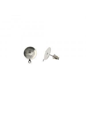 Perno tondo piatto liscio da incollo, diametro 13 mm., con un anellino chiuso sotto, CONF.2 PZ