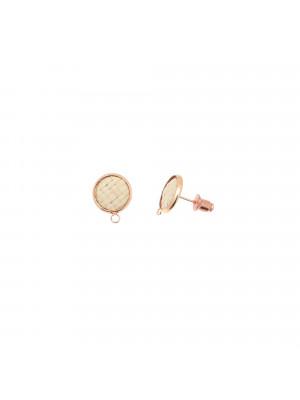 Perno tondo con rattan naturale, 12x15 mm., base oro rosa