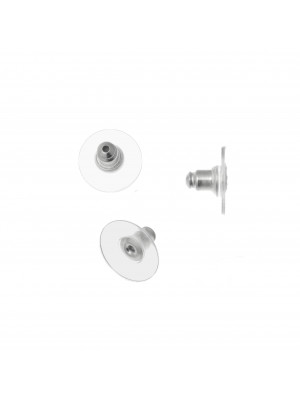 Fermino per orecchino, con cerchio finale trasparente di supporto, 12x7 mm.