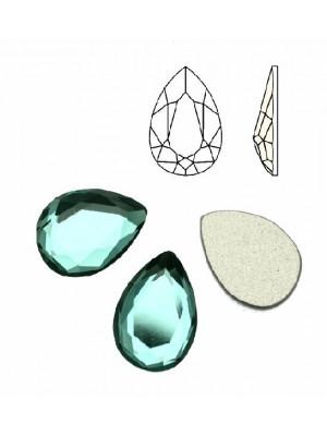 Cabochon a goccia sfaccettata, in cristallo, colore VERDE PETROLIO