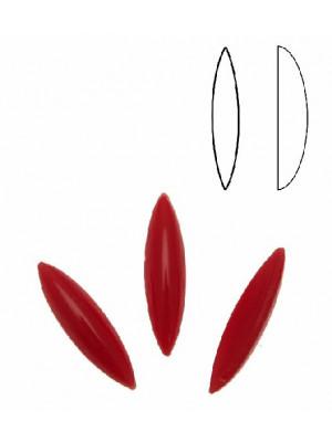 Cabochon a navetta allungata liscia, in cristallo, colore ROSSO