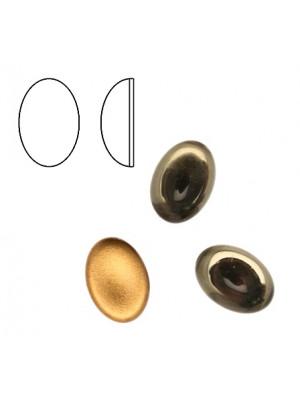 Cabochon ovale liscio, in cristallo, colore GRIGIO FUME'