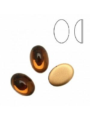 Cabochon ovale liscio, in cristallo, colore MARRONE