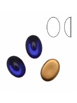 Cabochon ovale liscio, in cristallo, colore BLU ELETTRICO