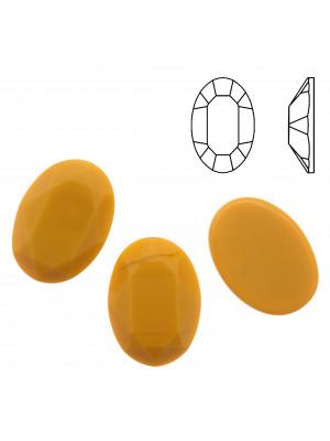 Cabochon ovale sfaccettato, in cristallo, colore SENAPE