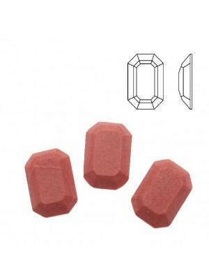 Cabochon rettangolare sfaccettato, in cristallo, colore CORALLO OPACO