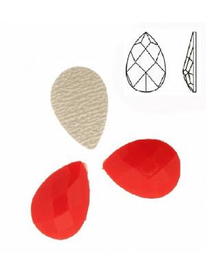 Cabochon a goccia sfaccettata, termoadesivo, in resina, colore ROSSO