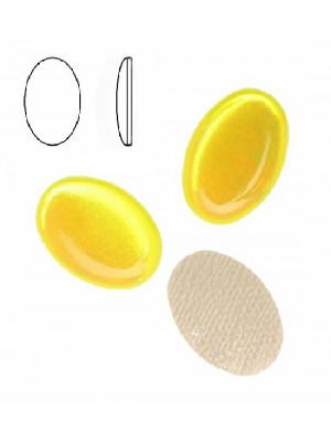 Cabochon ovale liscio, termoadesivo, in resina, colore GIALLO FLUORESCENTE