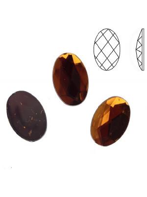 Cabochon ovale sfaccettato, in resina, colore MARRONE