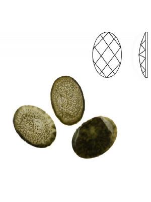 Cabochon ovale sfaccettato, in resina, colore VERDE OLIVA NUVOLATO IN BIANCO