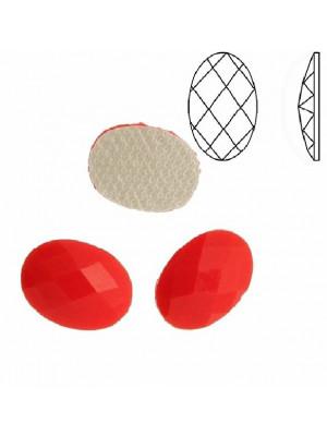 Cabochon ovale sfaccettato, termoadesivo, in resina, colore ROSSO