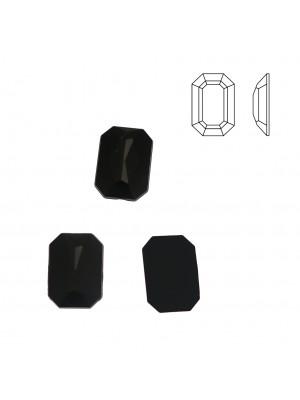 Cabochon rettangolare sfaccettato, in resina, colore NERO