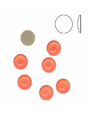 Cabochon tondo liscio, termoadesivo, in resina, colore CORALLO FLUORESCENTE