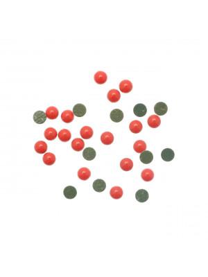 Cabochon tondo liscio, termoadesivo, in resina, colore CORALLO SCURO