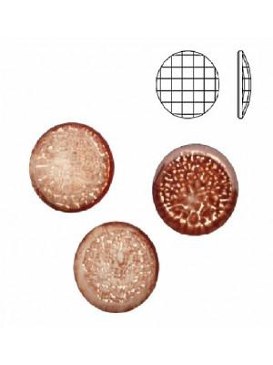 Cabochon tondo sfaccettato, in resina, colore MARRONE NUVOLATO IN BIANCO