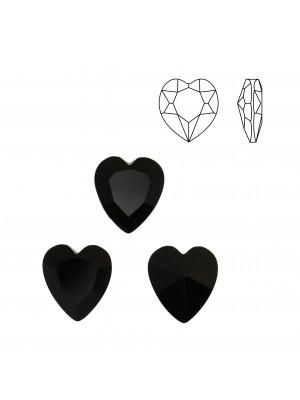 Gemma a cuore, in cristallo, colore NERO