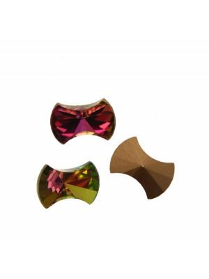 Gemma a fiocco, piatta sopra, in cristallo, colore ROSE MULTICOLOR