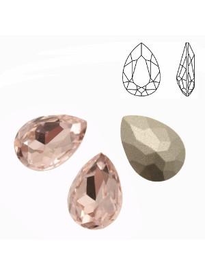 Gemma a goccia sfaccettata, in cristallo, colore ROSA CHIARO