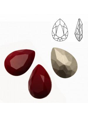 Gemma a goccia sfaccettata, in cristallo, colore ROSSO CORALLO SCURO