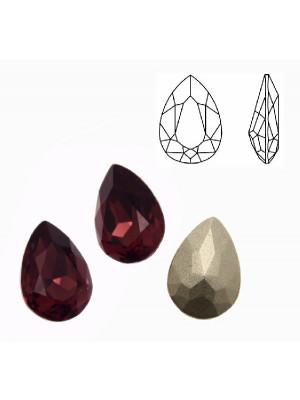 Gemma a goccia sfaccettata, in cristallo, colore BURGUNDY