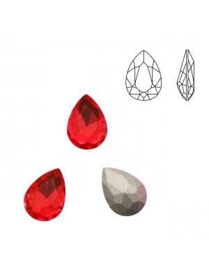 Gemma a goccia sfaccettata, in cristallo, colore ROSSO CHIARO